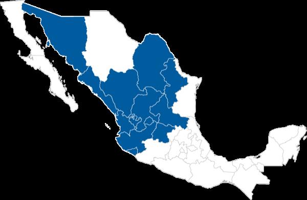 Occidente - Norte: Colima, Jalisco, Nayarit, Guanajuato, San Luis Potosí, Aguascalientes, Zacatecas,Nuevo León, Coahuila, Durango, Sinaloa y Sonora