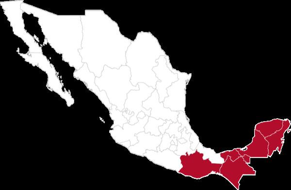 Sureste: Oaxaca, Veracruz Sur, Chiapas, Tabasco, Quintana Roo, Campeche y Yucatán